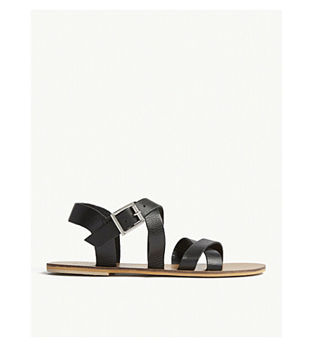 WAREHOUSE Double crossover leather sandals (Black