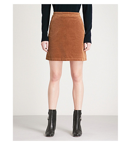 WAREHOUSE Corduroy mini skirt (Brown