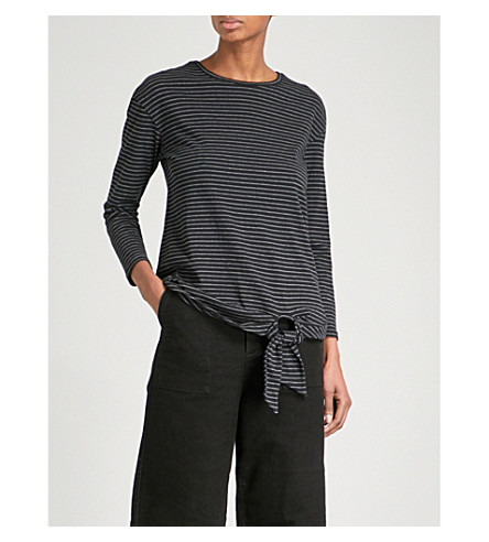 WAREHOUSE Tie front striped cotton top (Black