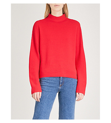 WAREHOUSE Funnel-neck ribbed knit jumper (Red