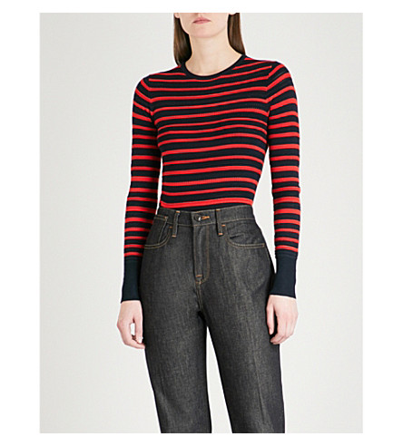 WAREHOUSE Striped pointelle-knit jumper (Red