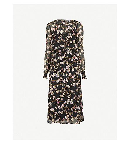 WAREHOUSE Sweet Cherry floral-print chiffon midi dress (Black