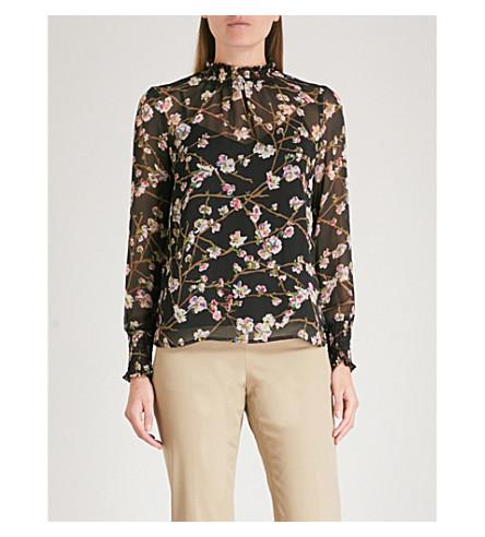 WAREHOUSE Floral chiffon blouse (Black