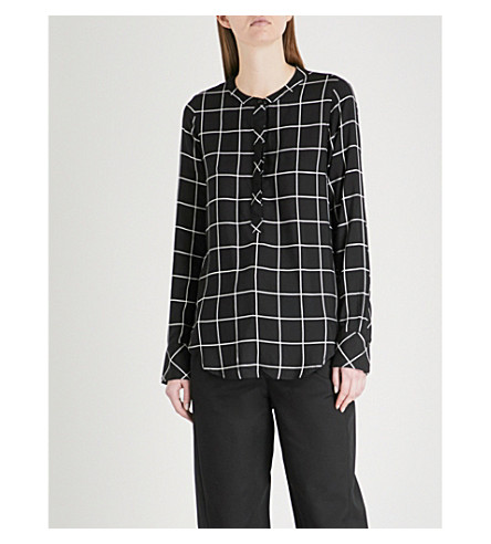 WAREHOUSE Band collar all-over pattern shirt (Black