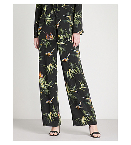 WAREHOUSE Songbird wide-leg crepe trousers (None
