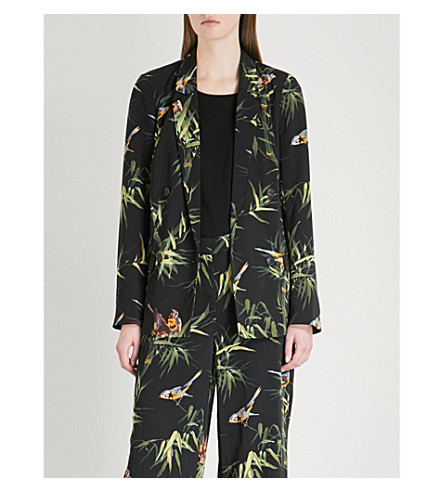 WAREHOUSE Songbird single-breasted crepe jacket (None