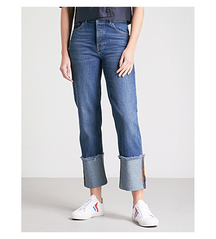 WAREHOUSE Straight cropped high-rise jeans (Blue