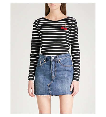 WAREHOUSE Cherry-embroidered striped cotton top (Black