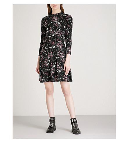 WAREHOUSE Sprig Floral floral-pattern jersey dress (Black