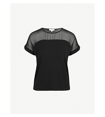 WAREHOUSE Sheer panel chiffon and jersey top (Black