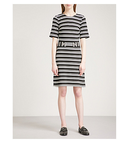 WAREHOUSE Cavalry Stripe striped woven dress (Black