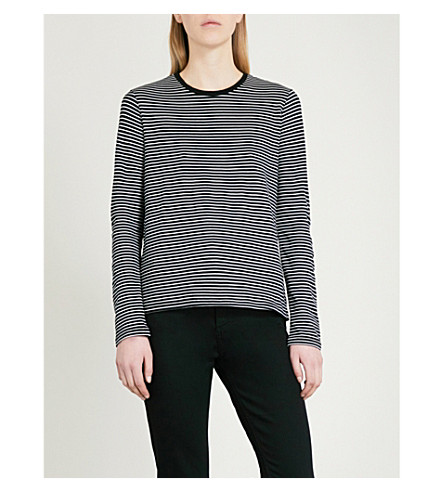 WAREHOUSE Striped jersey top (Black