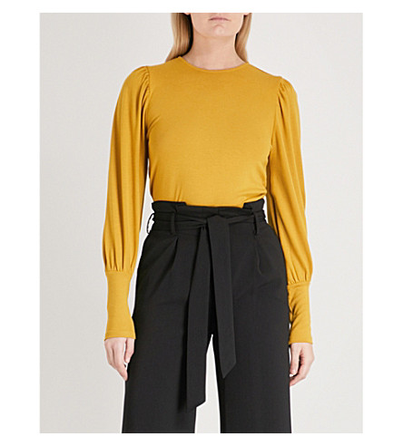 WAREHOUSE Puff-sleeve knitted jumper (Yellow
