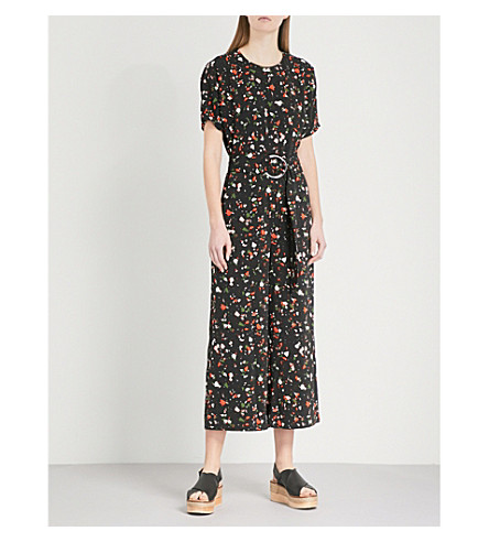 WAREHOUSE Granite-print belted woven jumpsuit (None