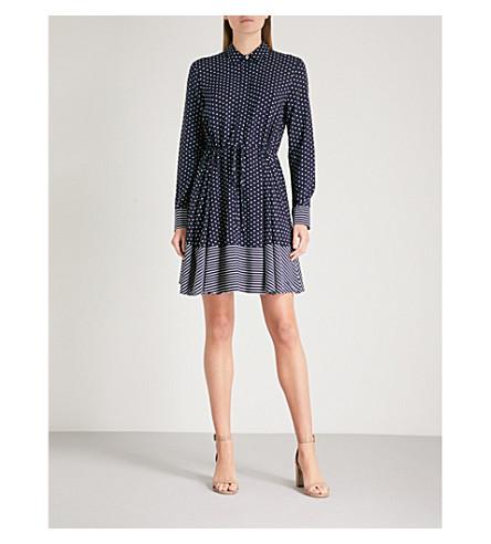 WAREHOUSE Stripe and spot woven shirt dress (Blue