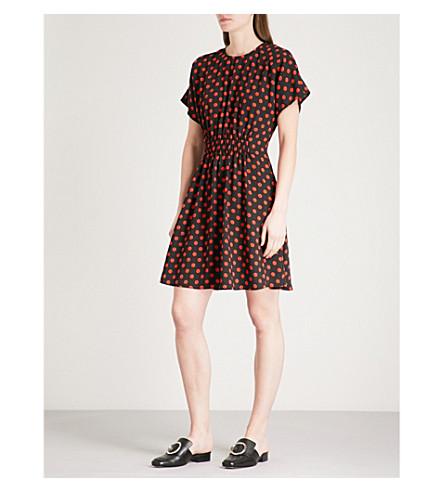 WAREHOUSE Polka-dot crepe mini dress (Black
