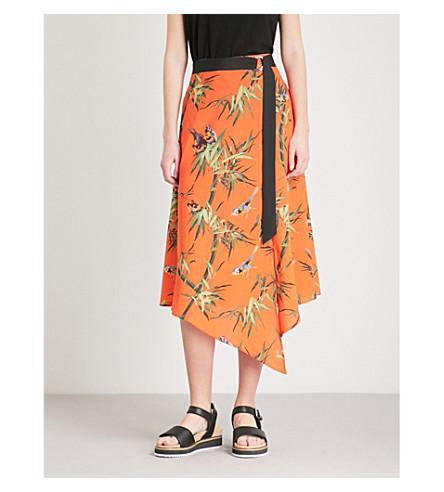 WAREHOUSE Songbird crepe midi skirt (Bright+orange
