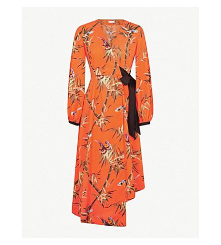 WAREHOUSE Songbird crepe wrap midi dress (Bright+orange