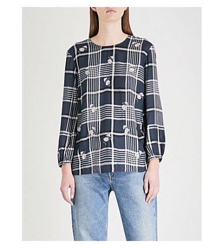 WAREHOUSE Daisy-embroidered checked woven top (Blue