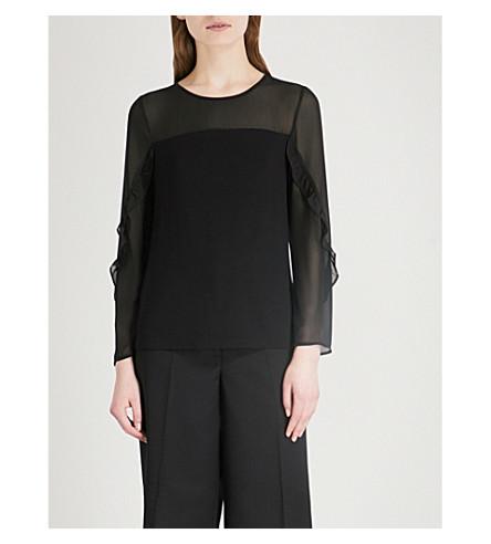 WAREHOUSE Ruffled sheer-sleeve chiffon and jersey top (Black