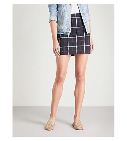 WAREHOUSE Navy check cotton-blend pelmet skirt (None