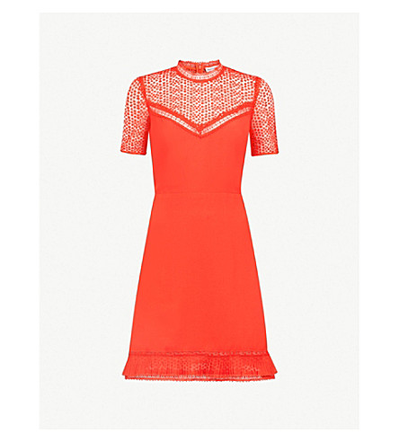 WAREHOUSE Lace-panel crepe mini dress (Red