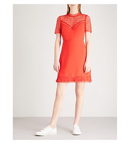 WAREHOUSE Lace-panel crepe mini dress (Red