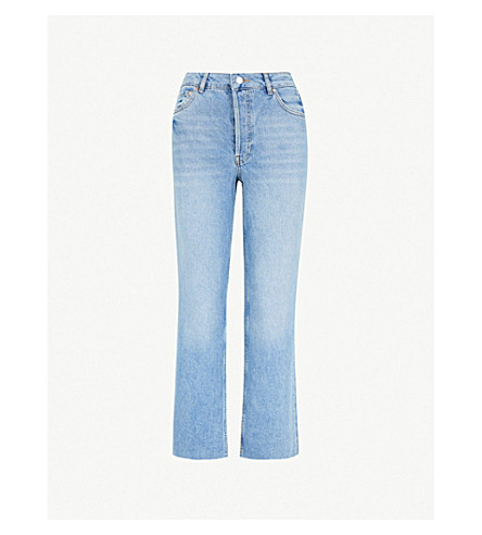 WAREHOUSE Straight cropped high-rise jeans (Pale blue