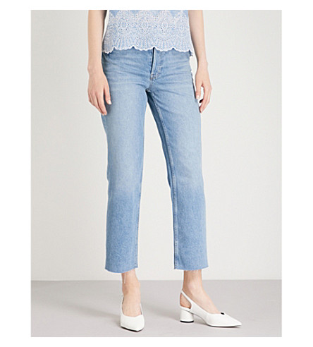 WAREHOUSE Straight cropped high-rise jeans (Pale+blue