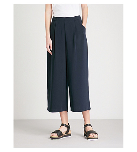 WAREHOUSE High-rise crepe culottes (Navy