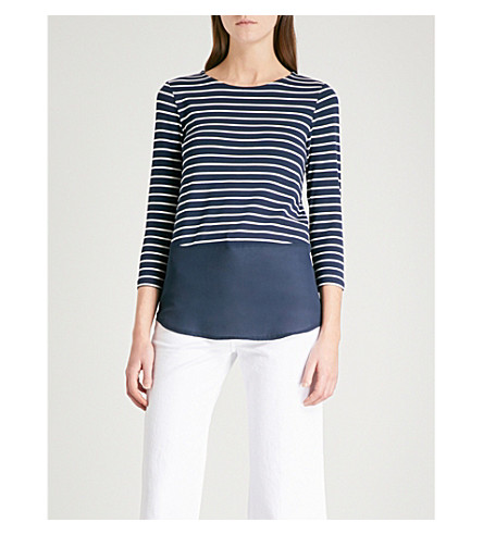 WAREHOUSE Striped button-back jersey top (Blue