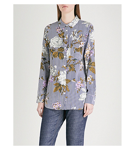 WAREHOUSE Molly striped and floral-print woven shirt (Cream