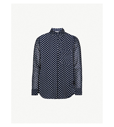 WAREHOUSE Embroidered spot chiffon top (Blue