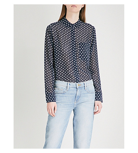 WAREHOUSE Embroidered spot chiffon top Blue Outlet Low Cost FHoIyvnZ