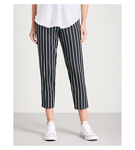WAREHOUSE Striped cropped woven trousers (Navy