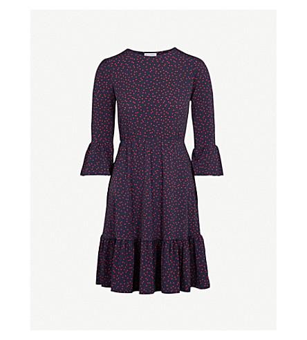 WAREHOUSE Polka dot tiered jersey dress (Navy