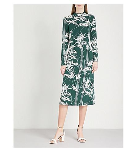 WAREHOUSE Bamboo-print stretch-jersey dress (Green
