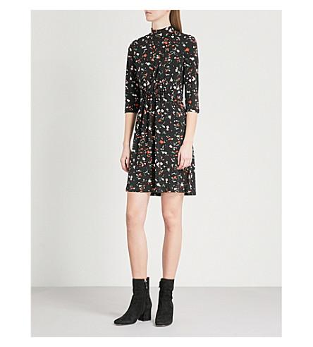 WAREHOUSE Granite-print stretch-jersey mini dress (Black