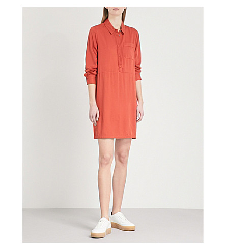 WAREHOUSE Pocket-detail woven mini dress (Bright+orange