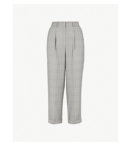 WAREHOUSE Prince of Wales-check peg-leg woven trousers (None