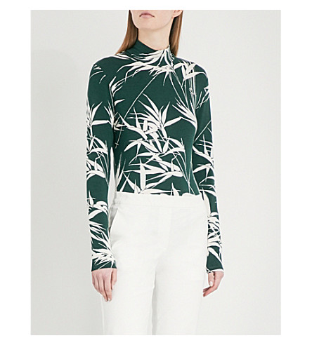 WAREHOUSE Bamboo-print stretch-jersey top (Green