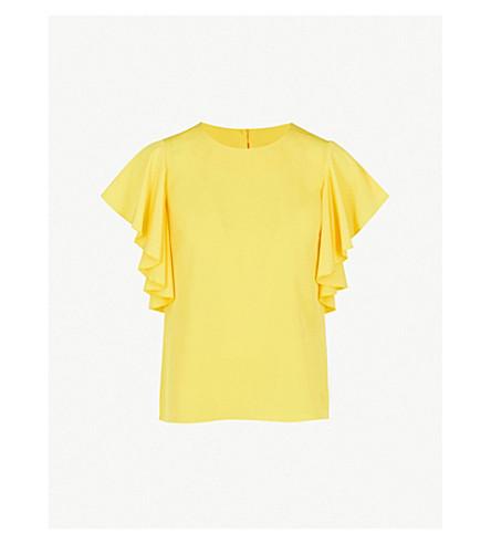 WAREHOUSE Ruffled-sleeve crepe top (Yellow