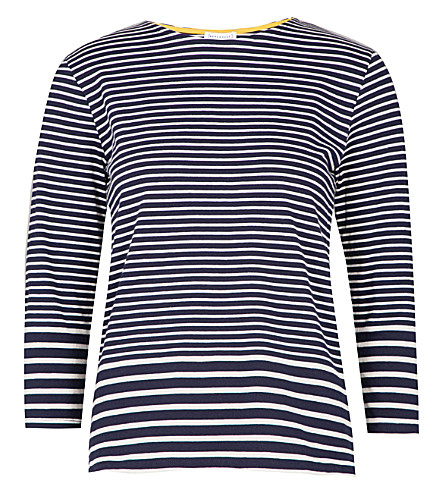 WAREHOUSE Engineered striped cotton-jersey top (Navy