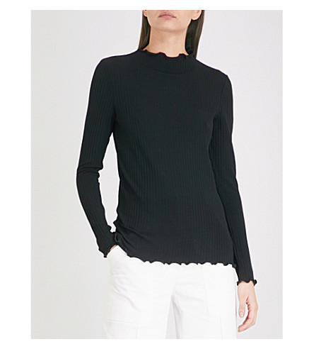 WAREHOUSE Ruffle-detail ribbed-knit jersey top (Black