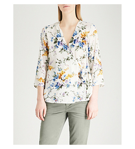 WAREHOUSE Floral-print crepe wrap top (Cream