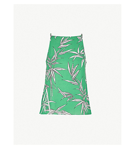 WAREHOUSE Bamboo-print crepe camisole (Green