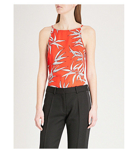 WAREHOUSE Bamboo-print crepe camisole Red Cheap Sale Websites Shopping Online Cheap Online Sale New Arrival Cheap Affordable Cheap Real Finishline NpoWI0