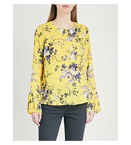 WAREHOUSE Floral-print crepe top (Yellow