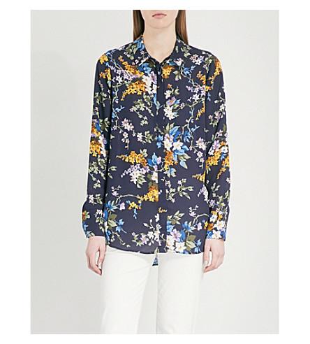 WAREHOUSE Floral-print crepe shirt (Navy