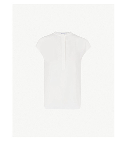 WAREHOUSE Button-side crepe blouse (Cream